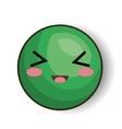 excited emoji green design vector image
