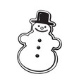 glazed snowman-shaped christmas gingerbread cookie vector image