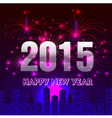 Happy New Year 2015 with fireworks background vector image
