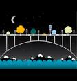 night landscape with bridge over water owl bird vector image