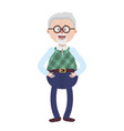 old man with glasses and hairstyle vector image