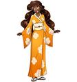 African Woman In Yellow Kimono vector image vector image