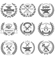 Set of vintage blacksmith labels and design vector image