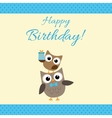 Party owls blue card vector image vector image