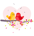 Couple birds sitting on branch vector image