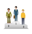 Flat male characters on white podium vector image