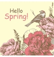 Hello Spring Background with peony and bird Peony vector image