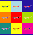 holiday flags garlands sign pop-art style vector image