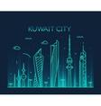 Kuwait city skyline silhouette linear style vector image