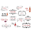 Set of Valentines headlines vector image