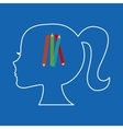 silhouette head girl school colors vector image