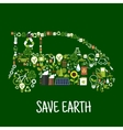 Eco car silhouette with green energy flat icons vector image