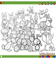 easter bunnies for coloring vector image
