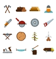 Timber industry icons set flat style vector image
