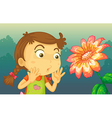 A girl shocked by a giant flower vector image