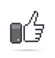 pixel thumb up 8 bit icon vector image vector image