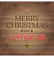Wooden Background With Drawn Christmas Text vector image vector image