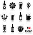 Beer icons set - bottle glass pint vector image