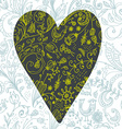 Doodle floral seamless card with heart vector image vector image