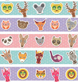 Set of funny animals muzzle seamless pattern with vector image