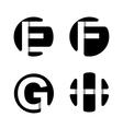 F G H White stripe in a black circle vector image