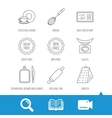 Kitchen scales whisk and grater icons vector image