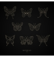 Set gold butterflies geometric shapes vector image