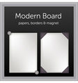 white papers with borders and magnet pinon black vector image