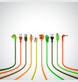 Colorful plug wire cables in perspective view vector image