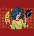 disco diva retro lady vector image