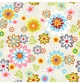 cute seamless flower pattern line art vector image vector image