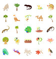 animals and plants icons set cartoon style vector image