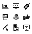 Optimization icons set simple style vector image