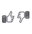 pixel thumb up 8 bit icon like and dislike vector image vector image