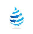 water drop arrow stripe logo vector image