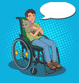 Disable handicapped boy in wheelchair pop art vector image