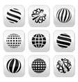Globe sphere earth buttons set vector image