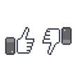 pixel thumb up 8 bit icon like and dislike vector image