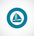 sail boat icon bold blue circle border vector image