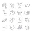 soccer icons set editable stroke vector image