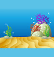 underwater scene with sand and coral reef vector image