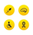 Medicine icons Syringe disabled brain vector image
