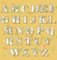 spring floral alphabet vector image