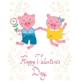Happy jumping pigs couple vector image