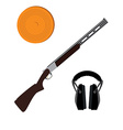 Skeet rifle headphones for shooting and clay disk vector image