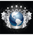 planet earth with grunge background vector image vector image