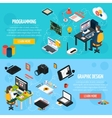 Programming And Graphic Design Isometric Banners vector image