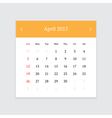 Calendar page for April 2015 vector image