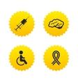 Medicine icons Syringe disabled brain vector image