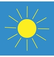 Sun sign on blue background vector image